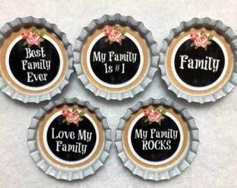 Set Of 5 Family  Bottle Cap Magnets