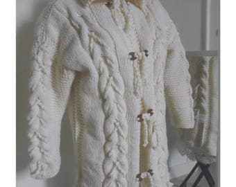 Coat cream white cable knit hand size 40/42 handmade
