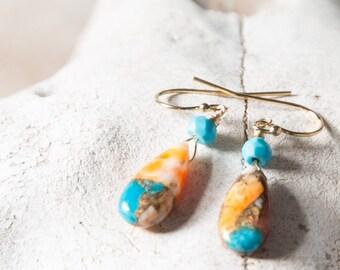 Turquoise Earrings/Copper Turquoise Teardrop Earrings/Turquoise Teardrop earrings/Genuine Turquoise Earrings/December Birthstone