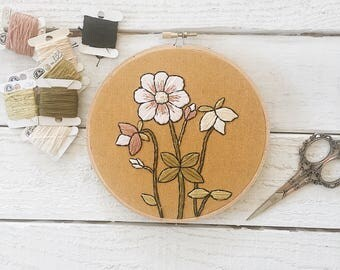 Floral Botanical Embroidery // Plant Embroidery // Mustard Yellow Embroidery // Plant Art // Botanica Art // Embroidery Design // Embroidery