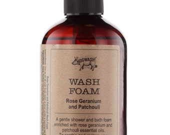 Rose Geranium and Patchouli Natural Body Wash,Shower gel, bath foam, , essential oils, SLS paraben free, mothers day gift, gifts for her,