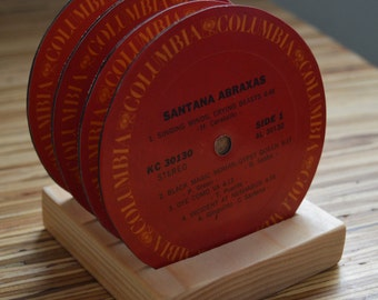 4 vintage santana record vinyl label drink coasters with wooden display base