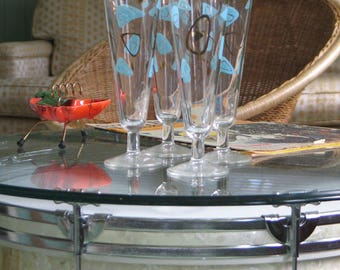 Federal Glass Boomerang Amoeba Pilsner Glasses Set of 6