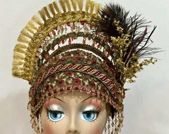 Jazz Age Rosebud Flapper Headdress, Gold And Red Embroidered Cloche Flapper Headdress, 1920's Costume Fringed Crown