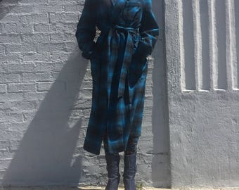 vintage 80s pendleton wool plaid turquoise light robe size medium mens