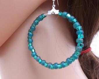 Hoop earrings, Green earrings, ring earrings, beaded hoops, summer earrings, Boho jewellery, gypsy earrings, festival jewellery