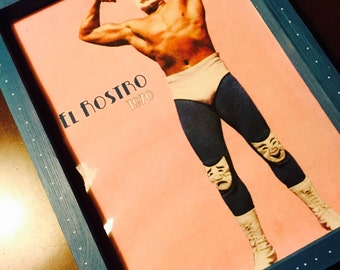 Lucha Libre framed art--100% Upcycled materials! Free Shipping from Japan
