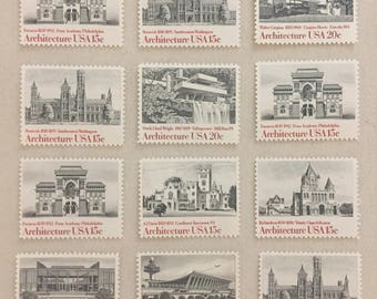 12 Vintage US Postage stamps - Architecture neutral Black and White theme - Falling Water Chicago Boston Philadelphia -unused