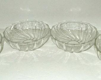 Swirl Desert Bowls, Set Desert Bowls, Swirl Pattern Bowls, Crystal Swirl Bowls, Set of 4 Desert Bowls, Clear Desert Bowl, Desert Bowls, Bowl