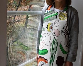 kids apron, child apron, children apron, apron, vegetables print, striped apron, polka dots kids apron, READY TO SHIP