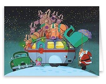 Camper and Santa Christmas Card - 18 Cards & Envelopes - 20018-b