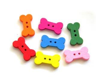 10 Wooden Dog Bone Buttons