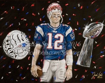 New England Patriots - Tom Brady - Art Print - Wall Art - Patriots - Man Cave - Patriot Decor - Dorm Decor - Patriot Gifts - Illustration