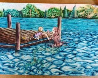 Friends Between Worlds Art Drawing Print Mermaid Little Girl at Lake Dock