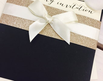 Black /gold glitter/ribbon 'Caron' pocket wedding invitation & RSVP card SAMPLE