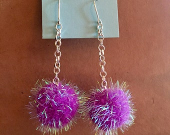 Iridescent Dark Purple Pom Pom Earrings