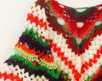 Vintage omslagdoek| vintage crochet shawl| crochet scarf | vintage poncho | crochet shawl | vintage 80s
