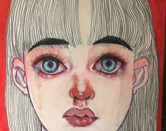 Bloody nose girl gouache painting original