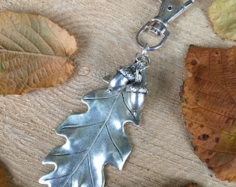Large Silver Oak Leaf & Double Acorn Bag Charm/Key Fob