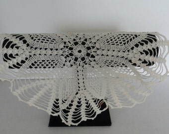 Vintage Crocheted Doily White Round