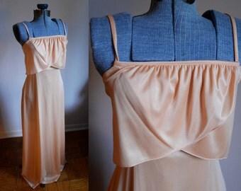 Small / Medium - Peach Maxi Dress with petal front
