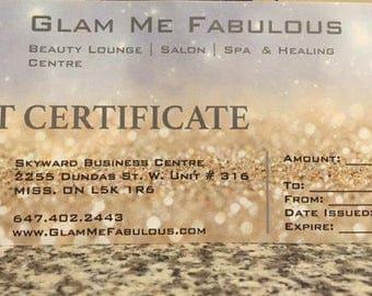 50 DOLLARS Gift Certificate for Glam Me Fabulous