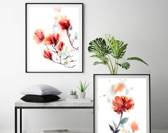 Set of floral fine art prints, set of 2, wall art, floral painting, watercolor painting art, red modern florals