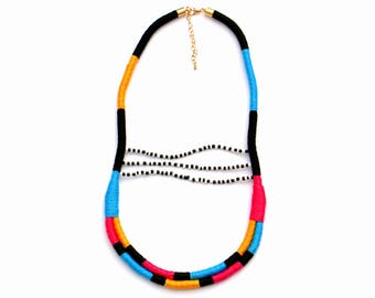 Statement Necklace, Colorful Rope Necklace, Beaded Necklace, Festival Necklace, Color Block Necklace, Textile Necklace, Rope Jewelry