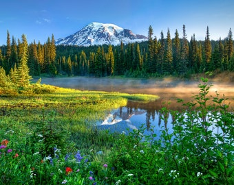 Washington Landscape Print, Mt Rainier Photo, Mountain Wall Decor, Reflection Lake Canvas, Photo On Canvas, Large Wall Art, Blue Fine Art