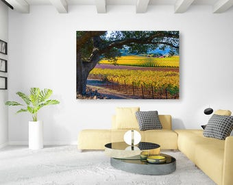 California Nature Print, Vineyard Photo, Napa Valley Fall Fine Art, Wine Country, Large Autumn Canvas, Gallery Wrap, Large Winery Wall Decor