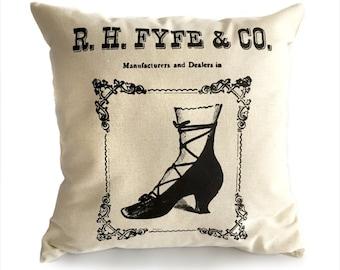 R.H. Fyfe & Co.  Laarzen en schoenen Detroit Vintage reclame gooien kussen