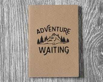 Adventure Is Waiting - Wanderlust Letterpress Notebook / Sketchbook / Journal - 2 sizes