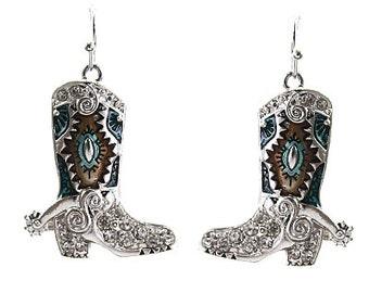 Western Style Cowboy Boot Dangle Earrings