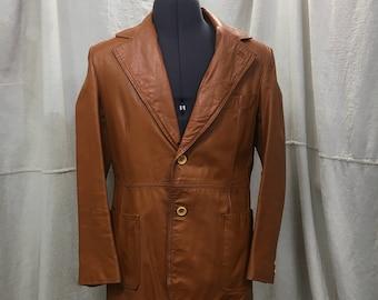 Vintage Leather Jacket, 70s Wide Collar Blazer Butterscotch Brown Mens 40