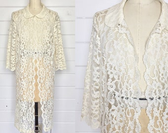 Vintage 1960s Ivory Lace Overcoat / Knee Length / Floral Lace / Midcentury / Lace Jacket