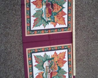 Autumn Country Mill Covered Bridge Fabric Panel