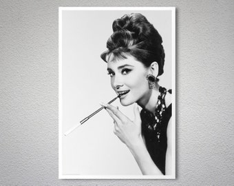 Audrey Hepburn Breakfast at Tiffany's Vintage Celebrity Poster - Poster Print, Sticker or Canvas Print