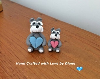 Mini Miniature Polymer Clay Pair of Schnauzer Figurines Holding Hearts - Hand Crafted