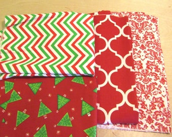 Christmas Fabric Bundle, Remnant Fabric Bundle,  quilting fabric, craft fabric