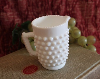 Child's White Milk Glass Miniature Pitcher - Hobnail Pattern