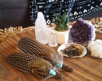 Feather smudge fan, smudge fan, feather fan, prayer fan, smudging feather, mini smudge fan