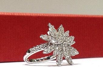 2.00 Carat Natural Diamond Snowflake Star Ring in 14K Gold
