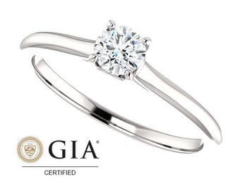 1/4 Carat GIA Certified Round Solitaire Engagement Ring in 14K White Gold
