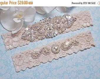 ON SALE Wedding Garter Set Ivory, Wedding garter belt, wedding garter ivory, wedding garter set, stretch lace garter, crystal rhinestone gar