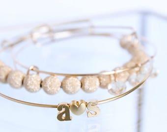 Initial Bangle Set - 14k Gold Filled - Couples Initials - Champagne Gold - Adjustable Stackable Bangles - Swarovski - Gift For Her