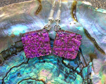 Raspberry Pink Dichroic Glass Dangle Earrings
