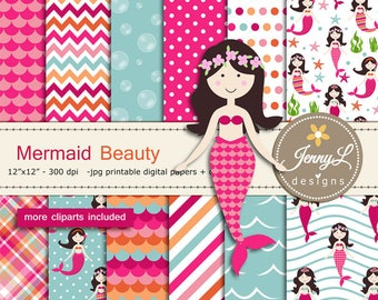 Mermaid digital papers and clipart SET,  Under the Sea, Seaweeds, scales, Bubbles for Digital Scrapbooking, birthday invitations Planner