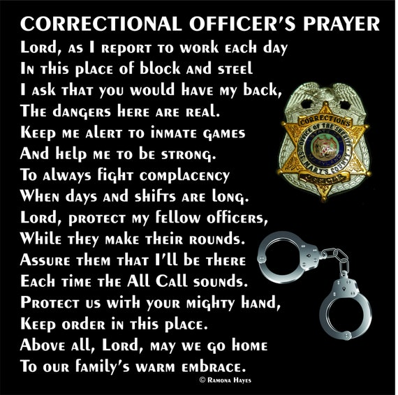 "Correctional Officer's Prayer 12""x12"" - C.O. Prayer - Guard's Prayer - Correctional Officer Tribute - C.O. Retirement - Guard Retirement"