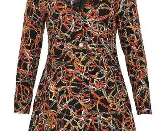 Stella Morgan Scribble Twirl Lace Collared Textured Long Sleeve Coat Multi 12