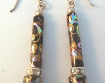 Vintage Sterling Silver Rhinestone And Oriental Flower Drop Earrings.